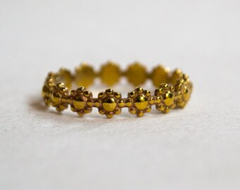 Simple wedding ring, nature ring, thin brass band, stacking ring, flowers ring, floral band, simple band, dainty ring, boho - Trip R2231B
