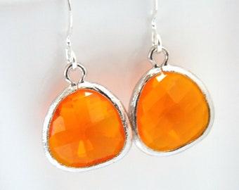 Orange Earrings, Glass Earrings, Tangerine Earrings, Silver Earrings, Coral, Bridesmaid Earrings, Bridal Earrings Jewelry, Bridesmaid Gifts