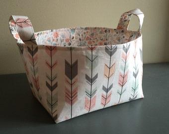 Fabric Basket- Deer Antlers- Woodland Theme- Buck Forest- Nursery Decor