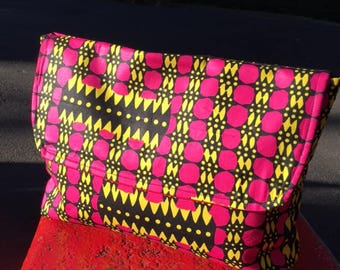 """Pink and Yellow African Wax Cloth 14"""" Envelope Clutch Bag, Travel Bag, Document Case"""