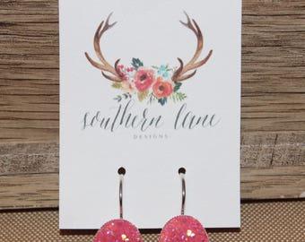 Pink Plum Oval Druzy Earrings