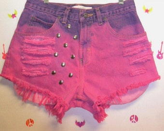 High Waisted HOT Pink Hand Dyed Studded  Shorts - Waist 30 inches