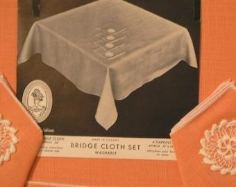 vintage linen ... Tangerine dreamy BRIDGE cloth HOSTESS SET ...