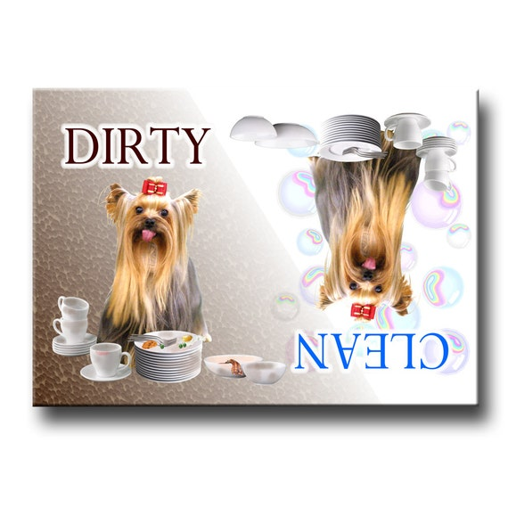 Yorkshire Terrier Clean Dirty Dishwasher Magnet