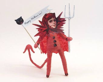 READY TO SHIP Spun Cotton Vintage Inspired Devil Witch Figure/Ornament