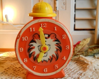 1960's Vintage Avon Tic Toc Tiger Clock Bubble Bath With Moving Hour And Minute Hands And Hard Hat Cap Treasury Item