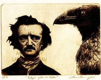 Edgar Allan Poe, Nevermore, Raven artwork , Raven, crow, , Etching. 5 inch x 7 inch 2012