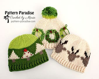 Crochet Pattern for Beanie with Christmas Design, Reindeer, Christmas Tree, Christmas Wreath, Toddler Child and Adult PDF 17-348