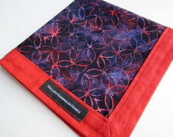 Handmade Hank Red Blue and Purple Batik Fabric EDC Hank Everyday Carry Pocket Dump Hank Mens Handkerchief Gift for Him