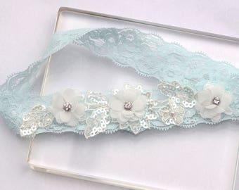 Wedding Garter - bridal garter, blue garter, floral garter, wedding bridal garter, lace garter, floral garter