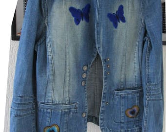 Upcycled vintage jacket customized butterfly hearts jeans blue denim upcycled jeans jacket woman jean