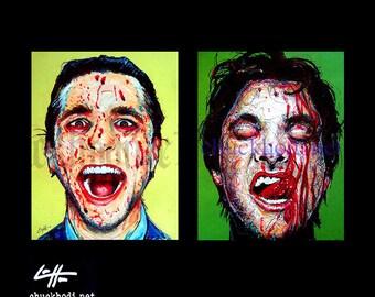 The Patrick Bateman Series - American Psycho Serial Killers Horror Blood New York Wall Street Dark Art Gothic Halloween Angry Christian Bale