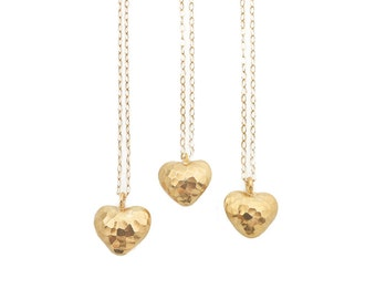 Hammered Gold Heart Necklace, Heart Necklace, Heart Pendant, Valentines Day Gift for Her