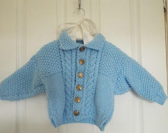 Chunky Cable Hand Knit Baby Jacket Lovely & Warm size 9 -12 Months