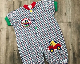 90s colorful plaid baby romper, 90s toddler romper, vintage baby romper, 18 months vintage clothes, 90s toddler outfit