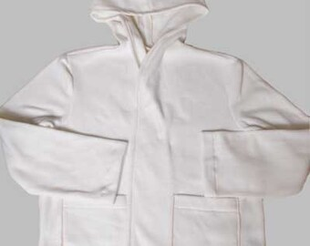 women loose fit white hooded polyester fleece jacket with patch pockets