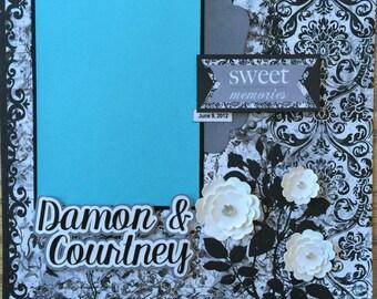 Custom Wedding Scrapbook Album, Personalized Wedding Album, Premade Wedding Scrapbook Album, Wedding Gift, Elegant Wedding Album