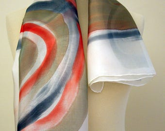 Silk scarf Handpainted- Hand Painted square Silk Scarf- Art silk scarf- Ooak silk scarf- Giveaways -Gifts for her- 35x35in. (90x90cm)