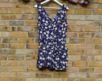 Floral Dark Purple Playsuit w/Pockets