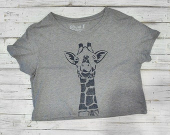 Crop Top, Cropped T shirt, Cropped Shirt, Giraffe Shirt, Crop Tee, Gift for Teens