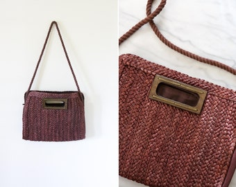 Vintage Dark Brown Woven Straw Shoulder Bag // Brown Woven Handbag