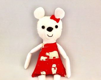 Polar Bear Plushie in Christmas Dress