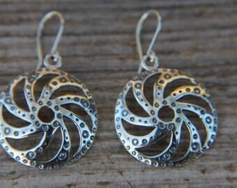 Silver Latvian Sun symbol earrings
