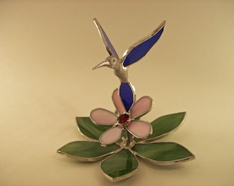 Stained Glass Hummingbird Figurine on Pink Flower - Made to Order (HUM002)
