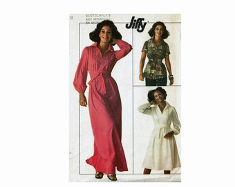1970s Dress or Top with Wide Tie Belt Size 18 Bust 40 UNCUT Sewing Pattern Jiffy Simplicity 7617 Boho Chic Maxi Dress