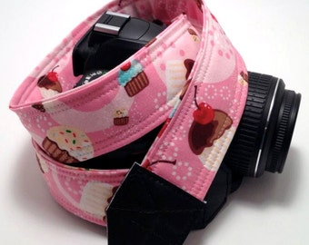 DSLR Camera Strap, Cupcake Camera Strap, Nikon Camera Strap, Canon Camera Strap, Graduation Gift, Wedding Gift, Travel