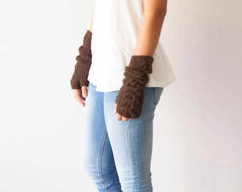 Sales Brown arm warmers long fingerless gloves gloves with cable pattern half finger gloves texting gloves hand knit gloves