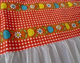 Scandinavian floral curtains - Swedish valance mod retro 1970s vintage fabric red flowers