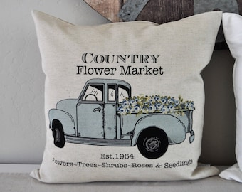 SALE, Country Flower Market Truck,Pillow Cover, truck Pillow Cover, Spring pillow cover, Summer Pillow Cover, 18x18