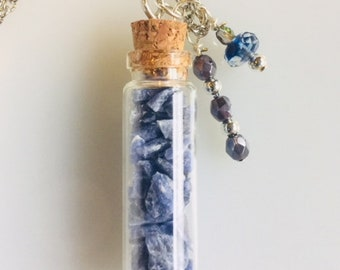 Glass Bottle Charm with Crushed Genuine Blue Sodalite Gemstone