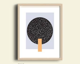 Abstract art, printable black and white prints. peach, blue, living room decor, modern minimalist, affordable wall art, digital,  2 files