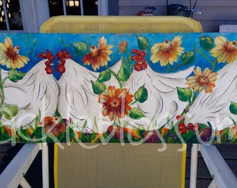"11 X 36"" #514 Funkadelic Chickens on Wood Funky Chickens Chicken Art"