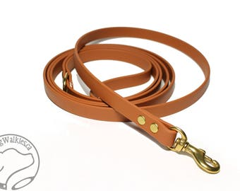 """Caramel Brown Small Dog Leash - 1/2"""" (12mm) Wide Biothane - Light Dog Leash - Choice of: 4ft, 5ft or 6ft (1.2, 1.5, 1.8m) and Hardware Type"""