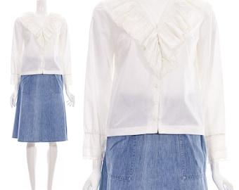 Vintage 70er Jahre viktorianischen Bluse weiß Dichter Bluse mit Rüschen-Ausschnitt und Ärmeln aus Spitze