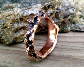 Textured Copper Ring Band.  2.5 X 6.5 mm  Irregular Thick and Wide.
