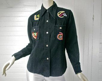 70s Denim Hippie Shirt in Black Vintage Rainbow Beads- Hippie Festival / Boho- 1970s- Beadwork- Disco- Jean Jacket Cotton Rock n Roll Medium
