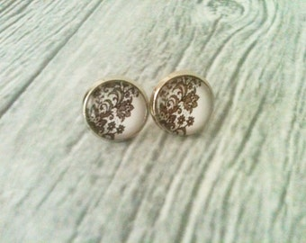 Lace earrings, lace pattern stud earrings, hypoallergenic, lace jewelry, gift idea for her, black and white