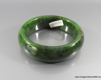 Vintage Certified Jade Bangle Green Hetian Nephrite Jade 和 田玉 bracelet  (Grade A) size 58 C41754