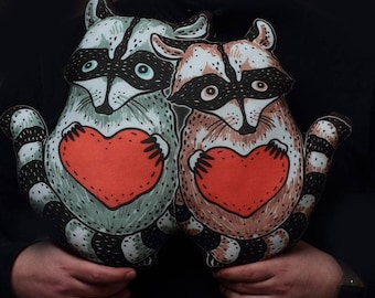 Valentines day giftDecorative pillow 2 Raccoon with heart Gift for your loved Valentines day gift