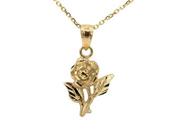 14k Yellow Gold Rose Necklace