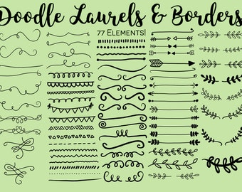DOODLE LAURELS and BORDERS, hand-drawn clipart, doodle clipart, rustic, laurels, borders, wedding, drawn wreaths, png, svg