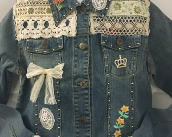 Decorated girls' Denim  Jeans Jacket size 12 -