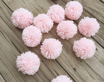 12 Soft Pink Yarn Pom Poms, Craft Supplies, Party Decor