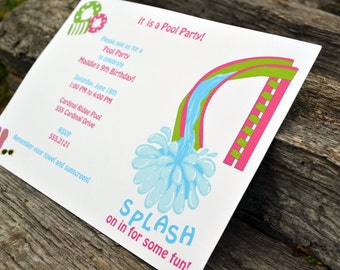 Pool Party Invitation for Girls Personalized Set of Party Invitations