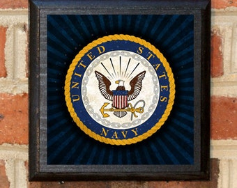 US Navy Seal Forged by the Sea Wall Art Sign Plaque Gift Present Home Decor Vintage Style USNA Sailor Naval Academy Get em Goat Classic