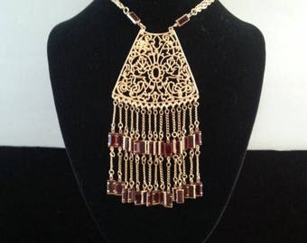 ON SALE Vintage Statement Bib Necklace ** Red Glass Fringe Necklace ** 1950's 1960's Vintage Jewelry ** Old Hollywood Glam